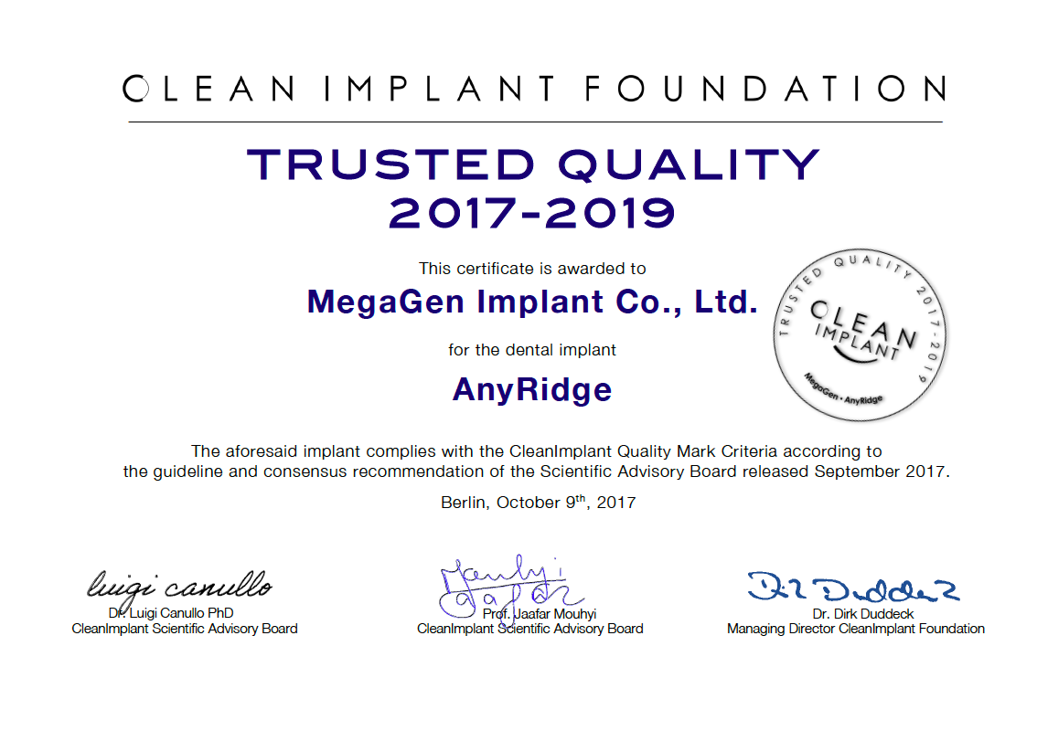 """Trusted Quality"" Implant Types 2020"